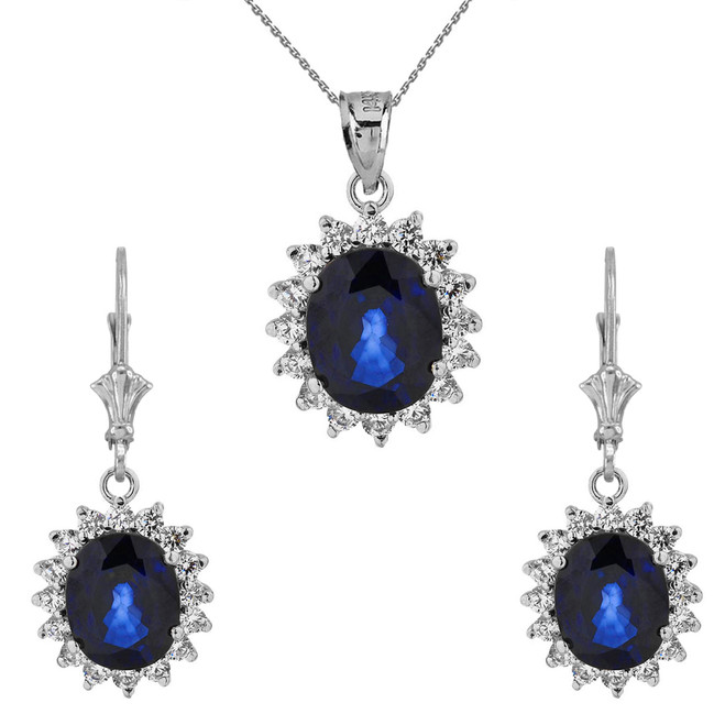 Princess Diana Inspired Elegant Cubic Zirconia and September Sapphire (LCS) Earrings and Pendant Necklace Set in 14K White Gold