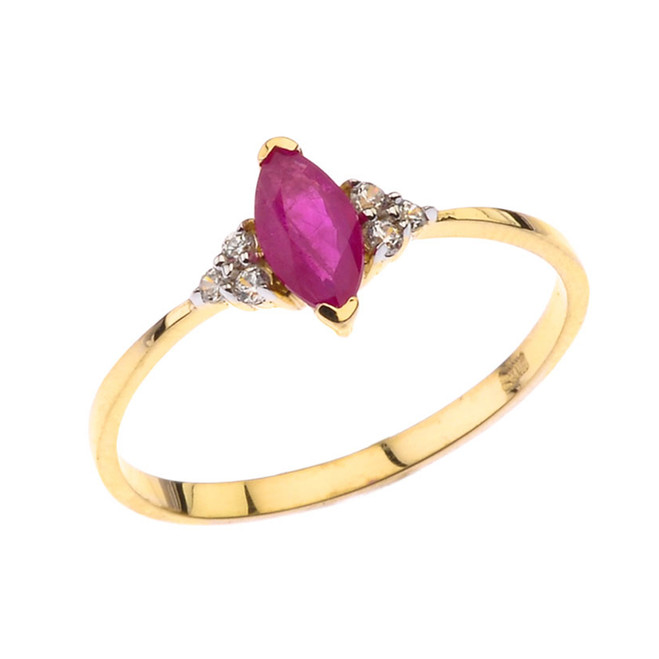 Unique Genuine Ruby Marquise Promise/Proposal Ring in Yellow Gold