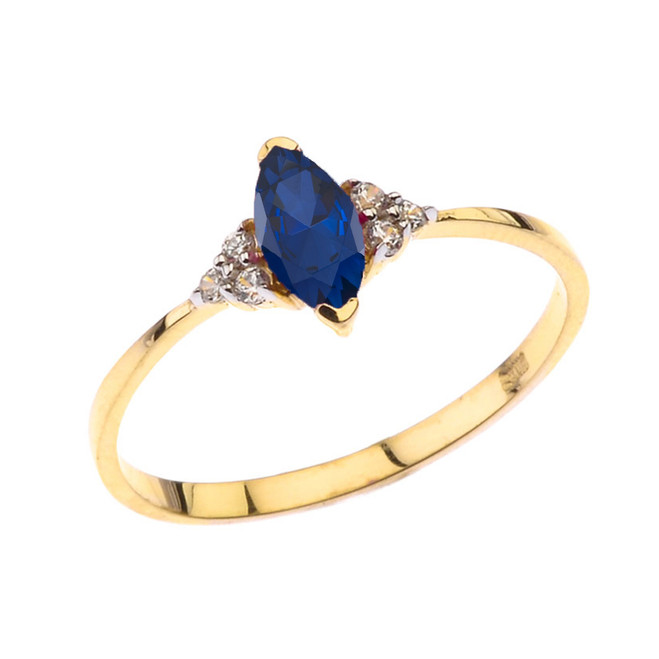 Unique Genuine Sapphire Marquise Promise/Proposal Ring in Yellow Gold