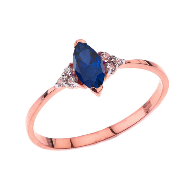 Unique Genuine Sapphire Marquise Promise/Proposal Ring in Rose Gold