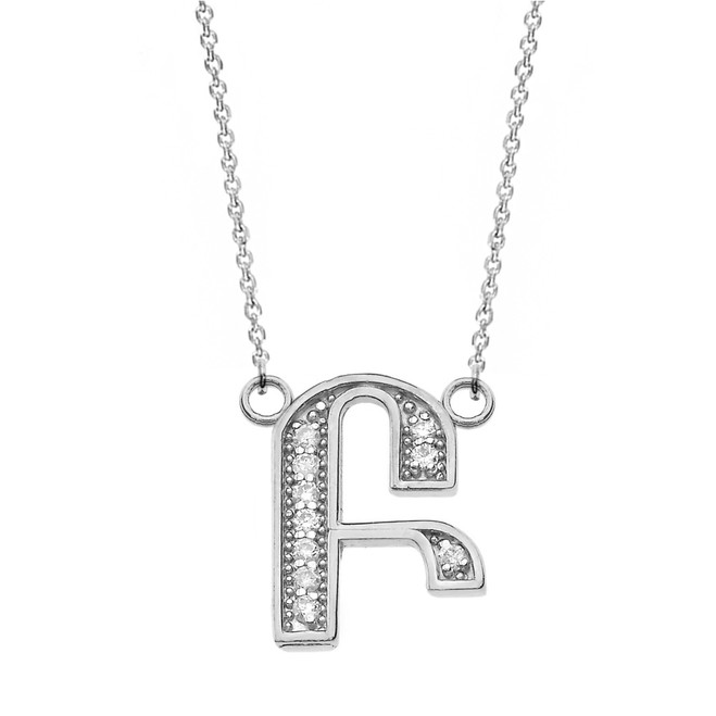 """14K Solid White Gold Armenian Alphabet Diamond Initial """"B"""" or """"P"""" Necklace"""