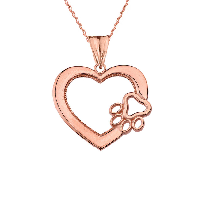 Heart Paw Print Pendant Necklace in Rose Gold