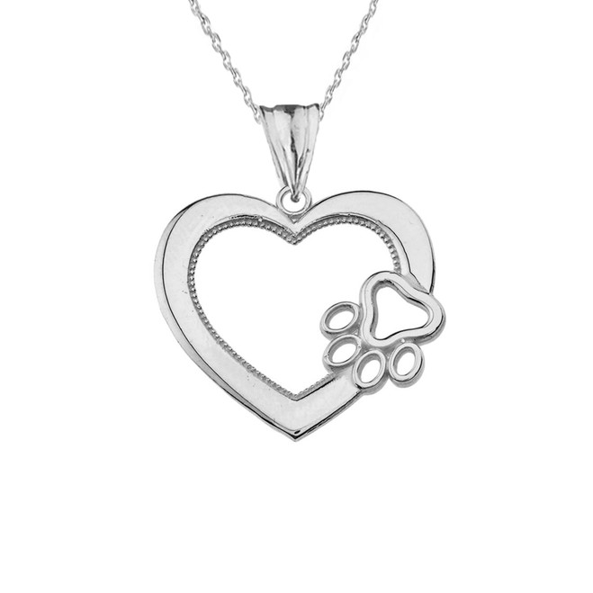Heart Paw Print Pendant Necklace in White Gold