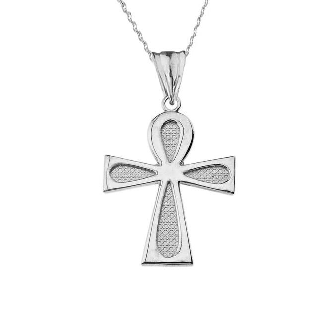 Sacred Ankh Cross Pendant Necklace in Sterling Silver