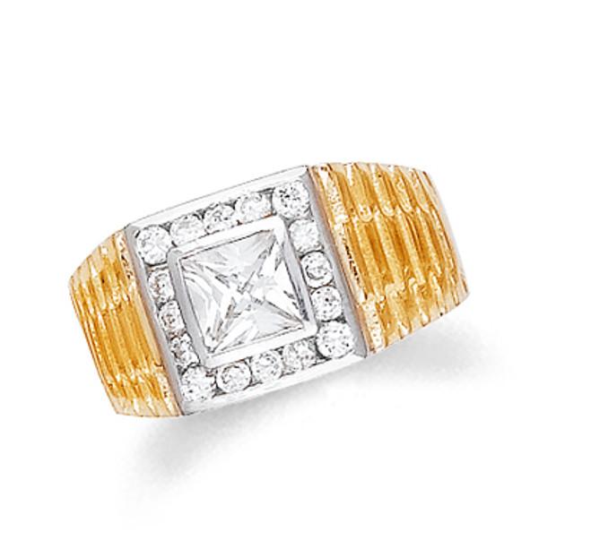 Gold Mens Classic Cubic Zirconia Ring