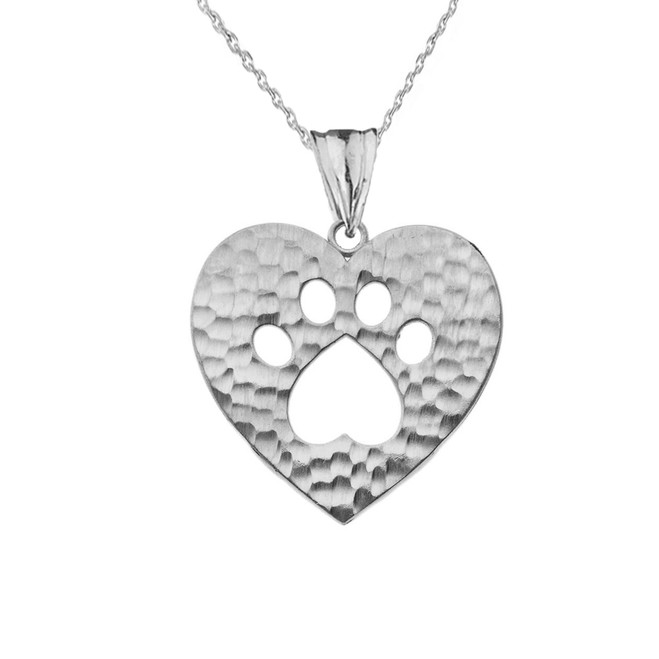 Cut-Out Paw Print in Heart Pendant Necklace in Sterling Silver