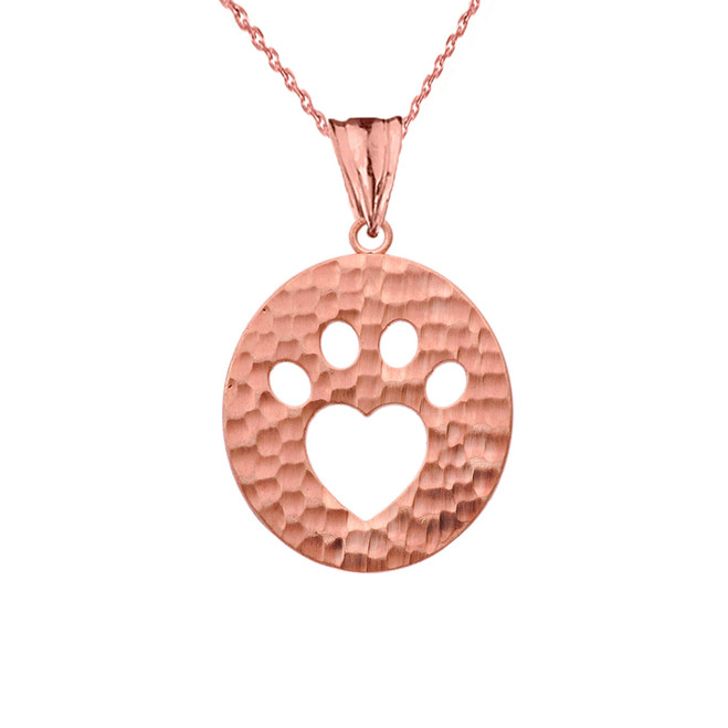 Cut-Out Paw Print Pendant Necklace in Rose Gold
