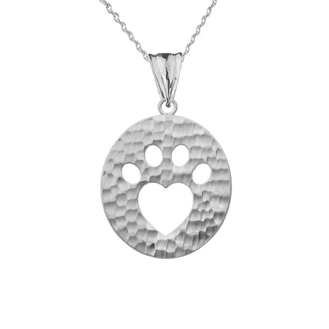 Cut-Out Paw Print Pendant Necklace in White Gold
