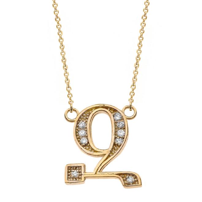 "14K Solid Yellow Gold Armenian Alphabet Diamond Initial ""Z"" Necklace"