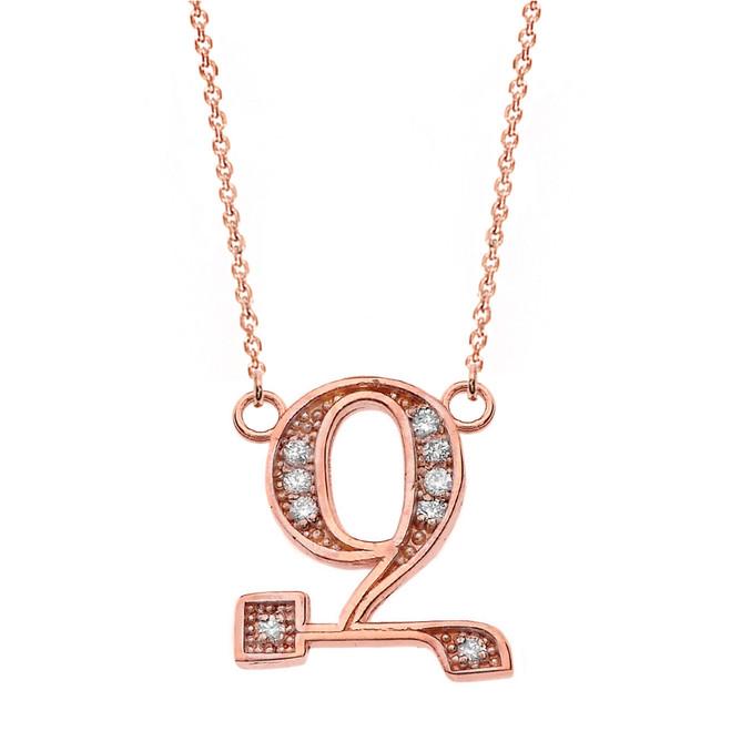 "14K Solid Rose Gold Armenian Alphabet Diamond Initial ""Z"" Necklace"