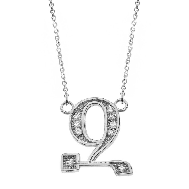 "14K Solid White Gold Armenian Alphabet Diamond Initial ""Z"" Necklace"