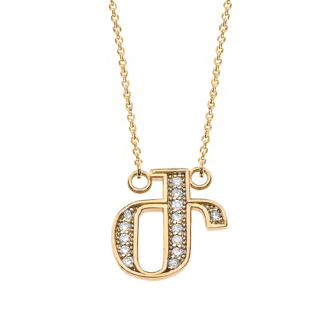 "14K Solid Yellow Gold Armenian Alphabet Diamond Initial ""Zh"" Necklace"