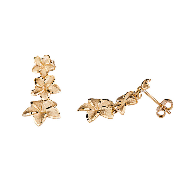 Elegant Hawaiian Plumeria Flower Earrings in Yellow Gold