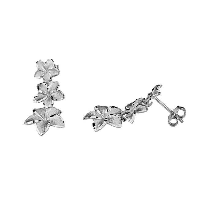 Elegant Hawaiian Plumeria Flower Earrings in White Gold