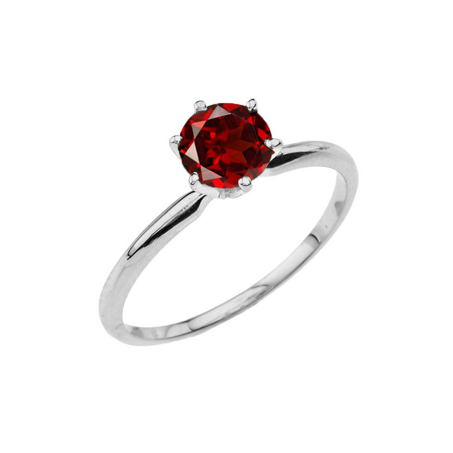 White Gold Garnet  Dainty Solitaire Engagement Ring