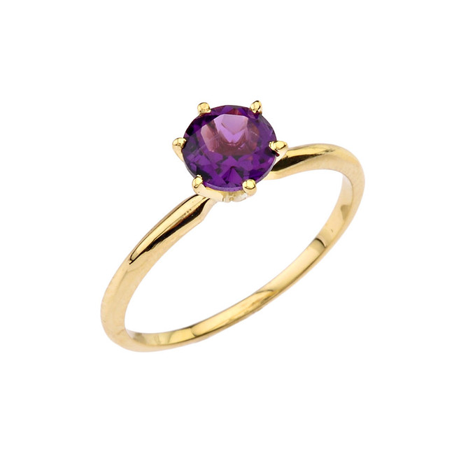 Yellow Gold Amethyst Dainty Solitaire Engagement Ring