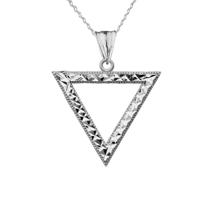 Chic Open Triangle Pendant Necklace in Sterling Silver