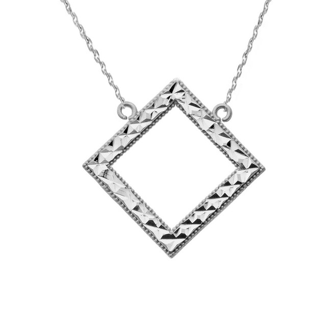 Chic Diamond Shape Necklace in 14K White Gold