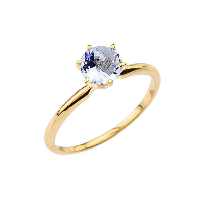Yellow Gold Aquamarine Dainty Solitaire Engagement Ring