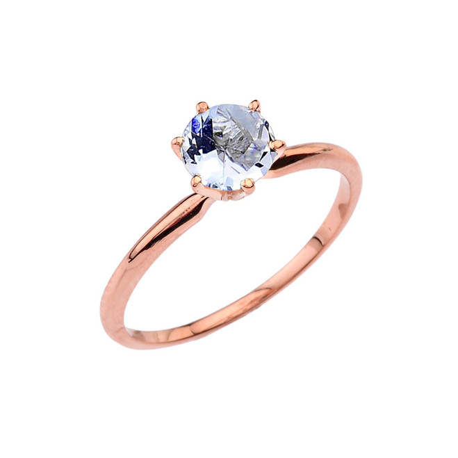 Rose Gold Aquamarine Dainty Solitaire Engagement Ring