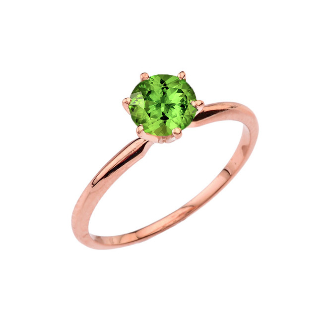 Rose Gold Peridot Dainty Solitaire Engagement Ring