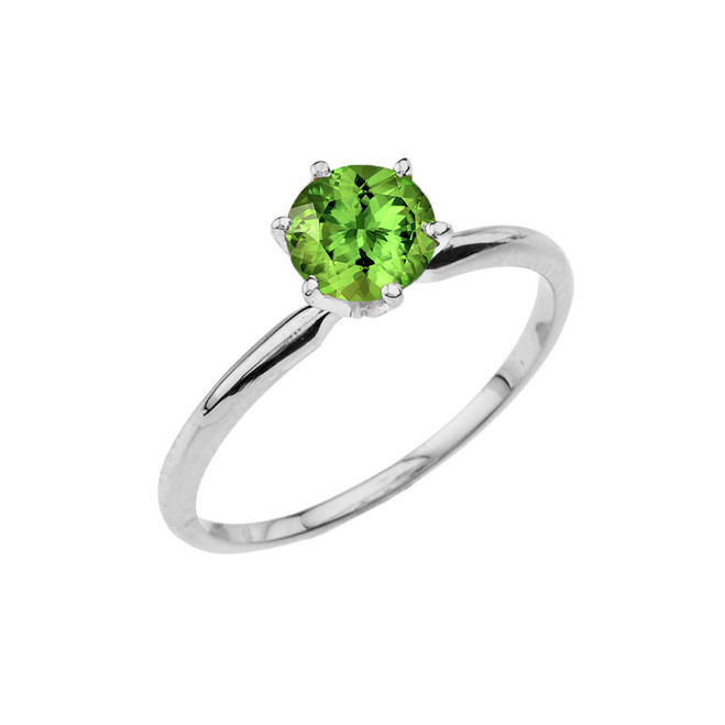 White Gold Peridot Dainty Solitaire Engagement Ring