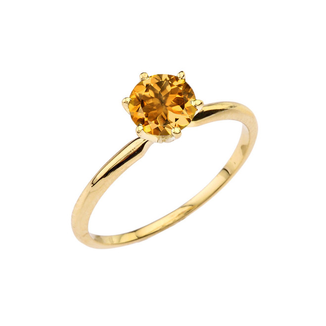 Yellow Gold Citrine Dainty Solitaire Engagement Ring