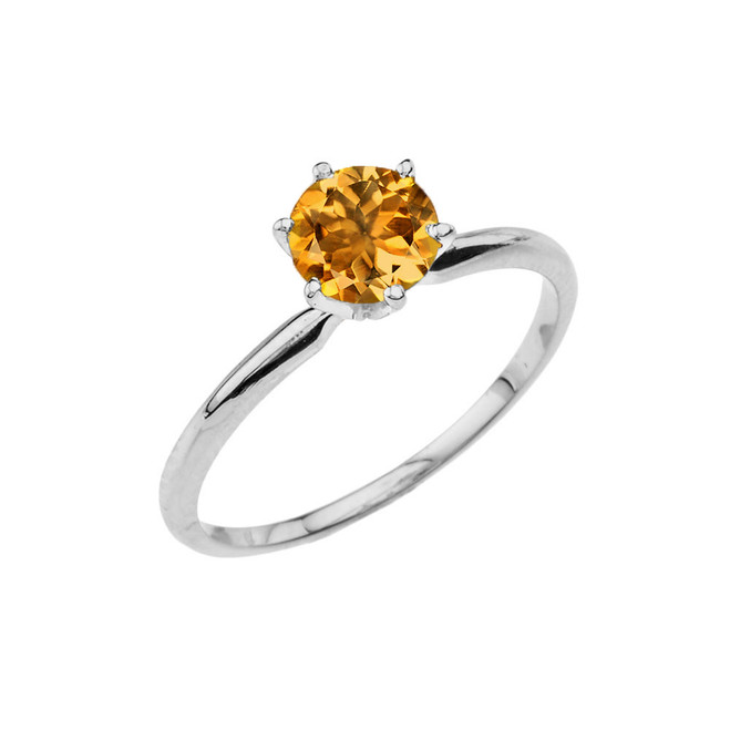 White Gold Citrine Dainty Solitaire Engagement Ring