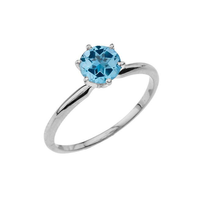 White Gold Blue Topaz  Dainty Solitaire Engagement Ring