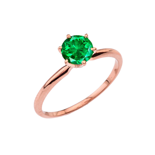 Rose Gold (LCE) Emerald  Dainty Solitaire Engagement Ring