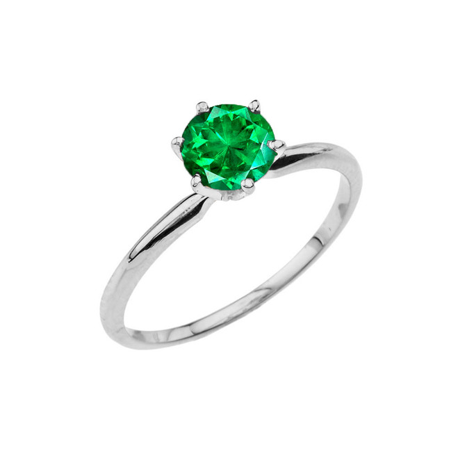 White Gold (LCE) Emerald  Dainty Solitaire Engagement Ring