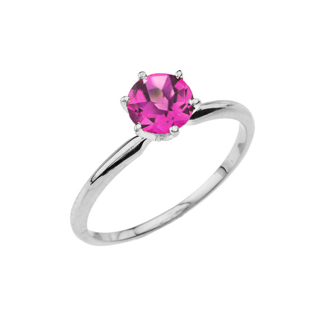 White Gold (LCAL) Alexandrite  Dainty Solitaire Engagement Ring