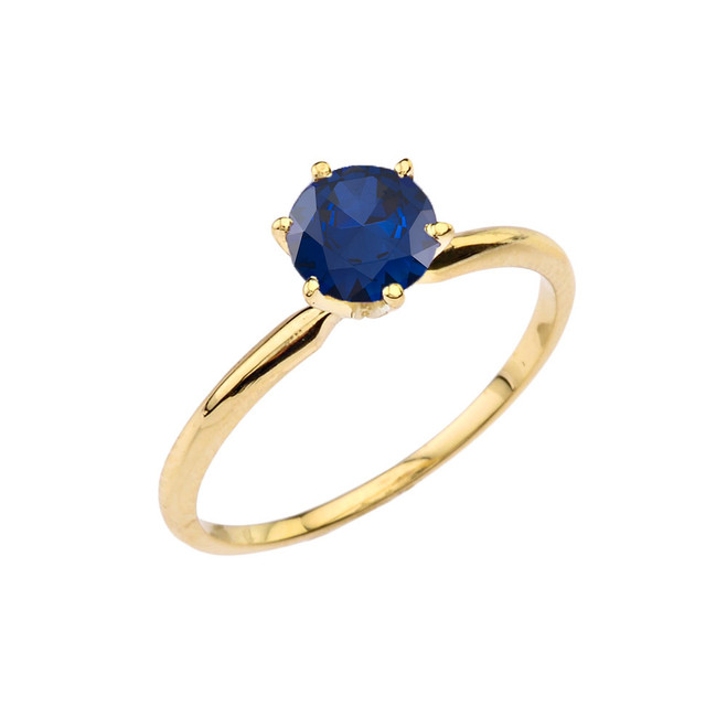 Yellow Gold (LCS) Sapphire  Dainty Solitaire Engagement Ring