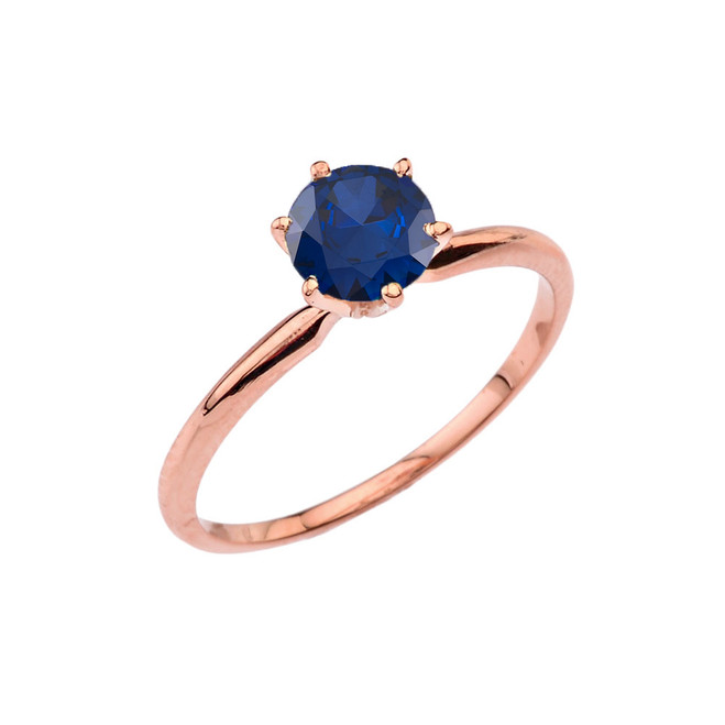 Rose Gold (LCS) Sapphire  Dainty Solitaire Engagement Ring
