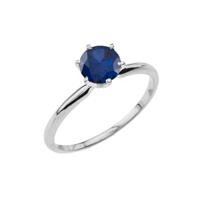 White Gold (LCS) Sapphire  Dainty Solitaire Engagement Ring