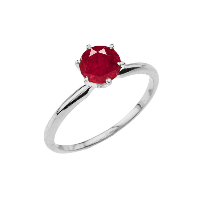 White  Gold (LCR)  Ruby  Dainty Solitaire Engagement Ring