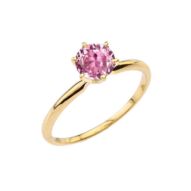 Yellow Gold Pink CZ  Dainty Solitaire Engagement Ring
