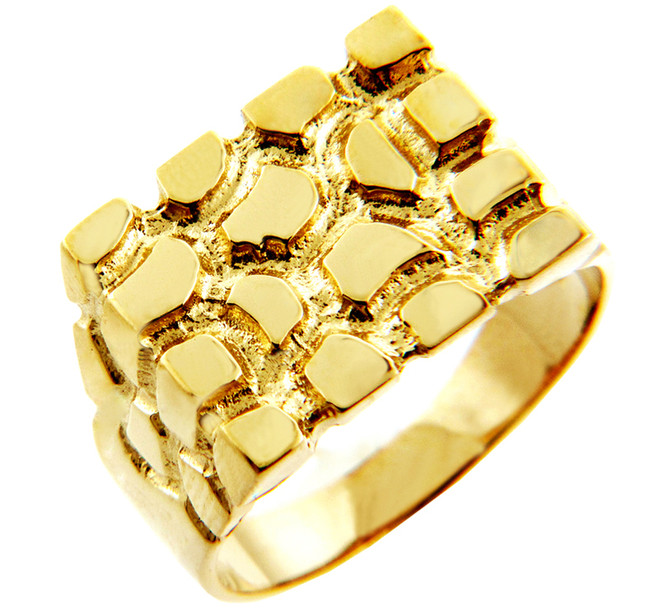 Men's Armour Solid Gold Nugget Ring