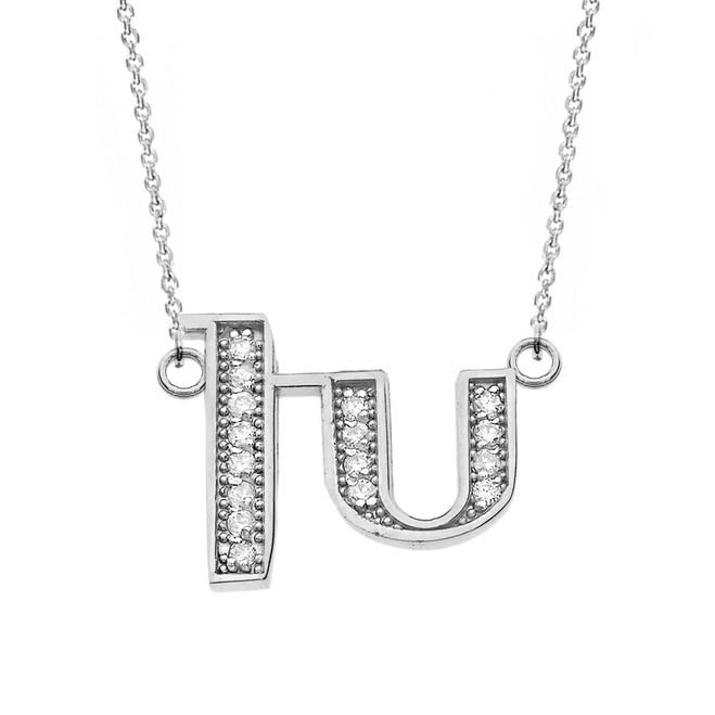 "14K Solid White Gold Armenian Alphabet Diamond Initial ""Kh"" Necklace"