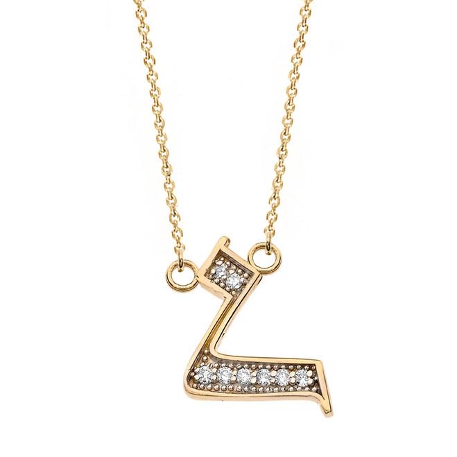 "14K Solid Yellow Gold Armenian Alphabet Diamond Initial ""H"" Necklace"