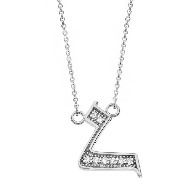 "14K Solid White Gold Armenian Alphabet Diamond Initial ""H"" Necklace"