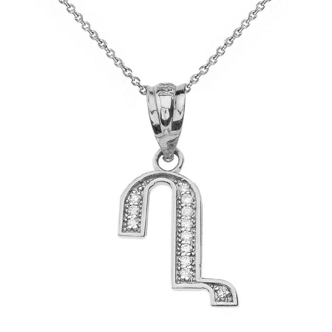 "Solid White Gold Armenian Alphabet Diamond Initial ""Gh"" Pendant Necklace"