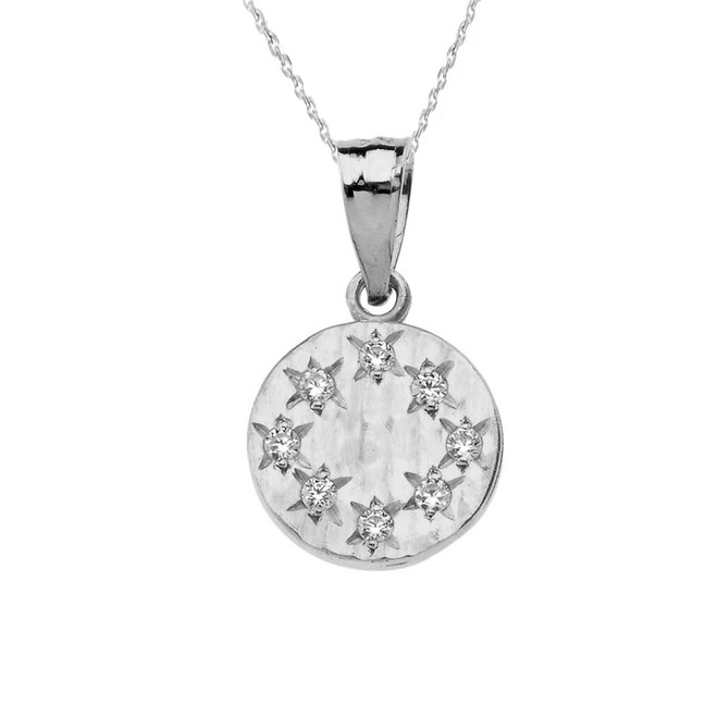 White Gold Hammered Diamond Round Pendant Necklace