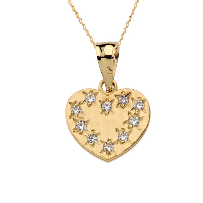 Yellow Gold Hammered Diamond Heart Pendant Necklace