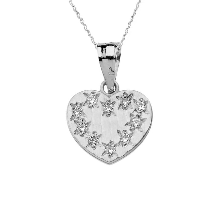 White Gold Hammered Diamond Heart Pendant Necklace