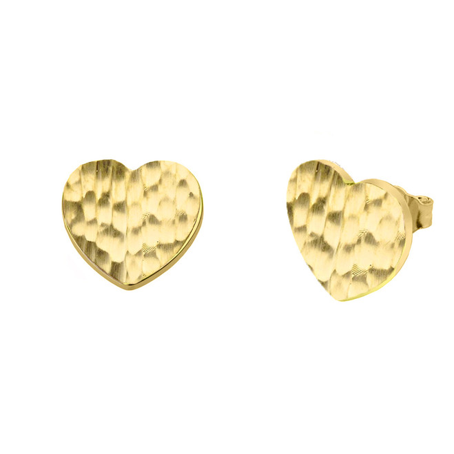 Yellow Gold Hammered Heart Stud Earrings