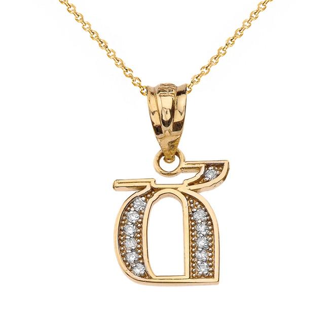 "Solid Yellow Gold Armenian Alphabet Diamond Initial ""Ch"" Pendant Necklace"