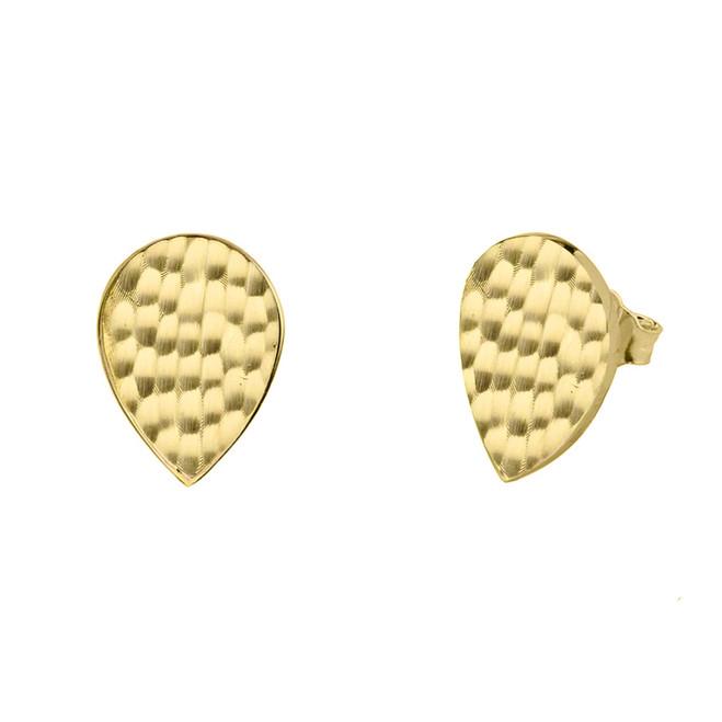Yellow Gold Hammered TearDrop Stud Earrings