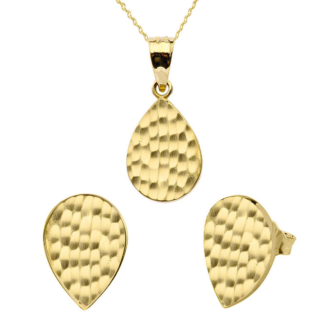 Yellow Gold Hammered TearDrop Pendant Necklace Set