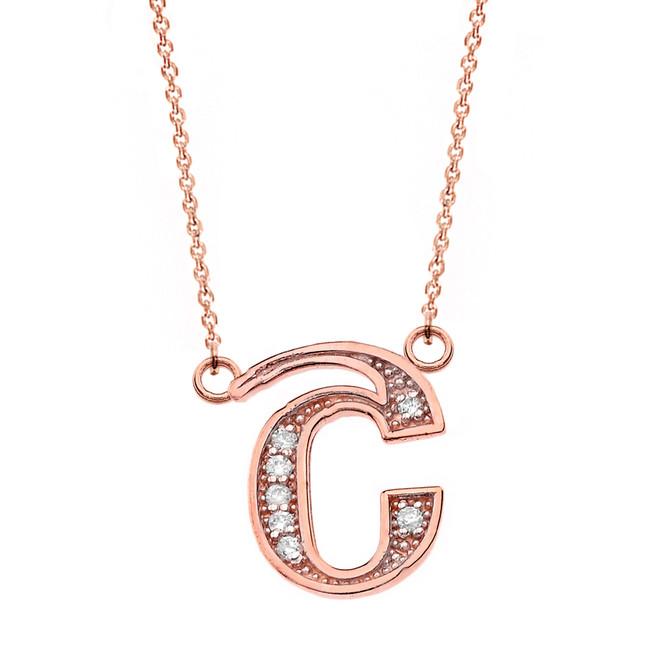 "14K Solid Rose Gold Armenian Alphabet Diamond Initial ""Sh"" Necklace"